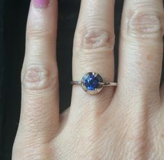 Blue sapphire Eugenie in 18k white gold and sterling silver Georgian inspired setting  Available by order or in our Williamsburg shop info@norakogan.com for more information