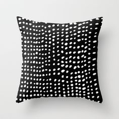 "Dots Throw Pillow with design on both sides. 100% Spun Polyester. $20 for 16""X16"" pillow cover, $27 with insert. Also available in larger sizes. --- I would have preferred a cover of 100% cotton, but the inexpensive collection from Society6 is ideal for a porch or if you like to change your decor frequently. There are many cute options for kids' rooms at the site."