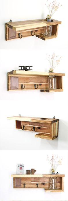 Wall shelf, Shelf Mu, Wood Shelf, WoodLeather Shelf, Wall Art, Hanging Shelf, Shelves