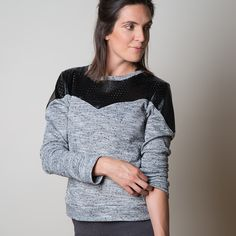 The perfect layering piece! Wear it over sports bras and knit tops, wear it under jackets, or wear it on its own. Cool details make this more than just a simple sweatshirt top.  View A features contrast yoke and sleeve panels that come to a point at centre front and centre of the sleeve, and long sleeves. View B has a plain front, crew neck, and three quarter length sleeves. It's a great go-to basic! View C has a set-in collar detail that has the appearance of a separate collar, but won't…
