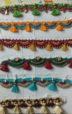 58 Ideas crochet edging and borders tassels Hand Embroidery Videos, Embroidery On Clothes, Hand Embroidery Designs, Saree Tassels Designs, Saree Kuchu Designs, Hand Work Design, Kutch Work Designs, Decoration, Necklace Ideas