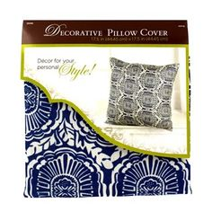 """Add a touch of style and beauty to your rooms with Blue & White Geometric Decorative Pillow Cover. This decorative pillow cover features a black and white floral geometric pattern printed on poly linen. This pillow cover is a trendy yet functional way to add a touch of your personal style to your favorite room!    Dimensions:      Length: 18""""    Width: 18""""      Use with 18"""" x 18"""" pillow insert (not included).    100% Polyester."""