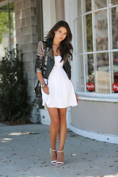 Little white dress, leather jacket and ankle strap sandals. VivaLuxury outfit. Beauty on High Heels #Fashion