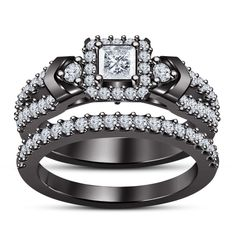 1.5/8 CTW Princess Cut Ring Set Wedding Engagement Bridal 14k Black Gold sz 5 6 #Silvergemsjewelry