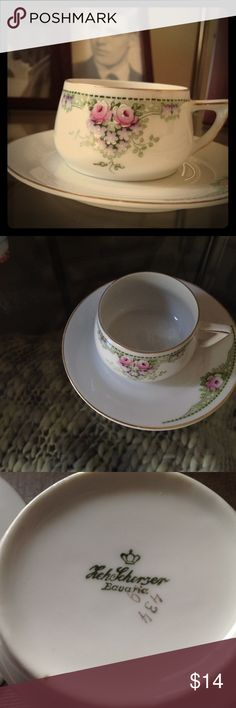 """Demitasse Bavarian tee cup & saucer Darling and incredibly sweet tiny tea cup and saucer.  Company on the bottom reads """"Z.S. & C."""", Bavaria with the number 19 and then 434, that is in gold. Think it's circa 1880-1920.  Super sweet, shabby chic and dainty! Z. S. & C. Other"""