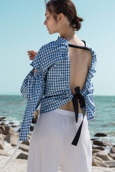 w ww wWwwwwwwwwwwwwwwww w Wwwwwwwwwwwwwwwww wwwwwwwwwwwww www wThe Tabitha Top in blue gingham stripes featuring boat neckline, open-back with drawstring tape back tie. Gathered long wide sleeves.