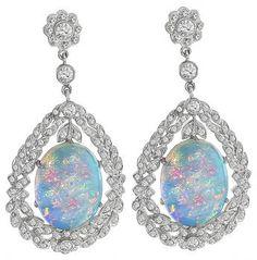 Estate Opal 3.00ct Diamond Earrings