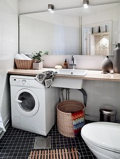 Bathroom: Scandinavian Style Practical Bathroom Laundry With Floating Vanity Units Also White Sink And Large Mirror Also Modern Vanity Light...