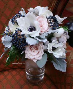 Anemone rose and viburnum berry bouquet.  Winter bouquet www.lushflorals.ca