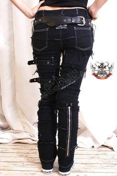 d8a866eeabd761 PUNK EMO Skinny Fray Buckle Stretch Black Denim JEANS   Etsy Black Denim  Jeans, Denim