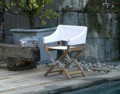 Sundance outdoor folding directors chair Paolo Golinellli DePadova contemporary teak seating