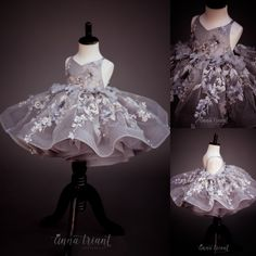 For lovers of florals and beautiful grays, Jolie is an adorable tutu style dress featuring floral lace overlay on bodice and skirt, adjustable straps that lace up in the back and a full tulle underskirt trimmed with horsehair braid. Baby Girl Party Dresses, Birthday Girl Dress, Dresses Kids Girl, Baby Dress, Girl Outfits, Flower Girl Dresses, Little Girl Gowns, Gowns For Girls, Wedding Dresses For Girls