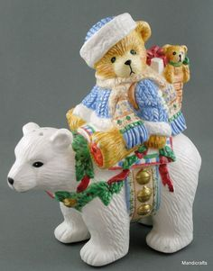 Cute Salt & Pepper Shaker Set Cherished Teddies Eric the Bear (shaker) sits on Polar Bear (shaker), Tidings of Joy 1996
