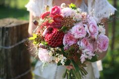 Organic Bridal Bouquet with dahlias, garden roses and ranunculus by Erin Benzakein / Floret Flower Farm, via Flickr