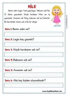 OKUMA ANLAMA METNİ – AİLE Okuma anlama metinleri Özgün bir çalışma olarak pdf formatında hazırlanmıştır. Sitede bulunan çalışmaları özgün içerik olarak hazırlıyoruz. Bu yüzden Sitemizde.. Free Preschool, Preschool Worksheets, Preschool Activities, Turkish Lessons, Learn Turkish, Action Verbs, Turkish Language, Learning Arabic, Reading Passages