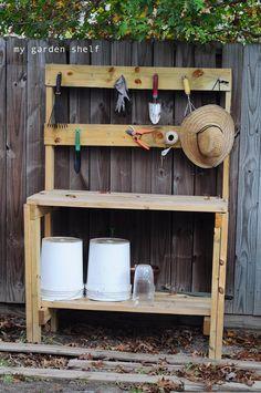 DIY Garden shelf idea, I use this when I garden. blog with lots of pics and a new easy way to garden. ~Mel @ RaisedUrbanGardens.com