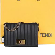 Fendi Chain Strap Bag in Original Flamingo Leather 8BT025 Black