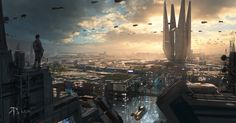person standing on top of building wallpaper futuristic city science fiction digital art concept art Cityscape Wallpaper, City Wallpaper, Iphone Wallpaper, Art Science Fiction, Buildings Artwork, Unusual Buildings, Sci Fi City, Future Wallpaper, Cities