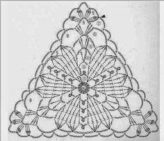 Ideas For Crochet Lace Triangle Motif Crochet Bunting, Crochet Blocks, Crochet Squares, Crochet Doilies, Crochet Lace, Granny Squares, Crochet Motif Patterns, Crochet Chart, Thread Crochet