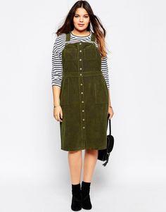 Plus Size Denim Cord Pinafore Dress