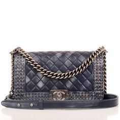 85027018a041 Chanel Metiers d'Art Navy Studded New Medium Boy Bag - Chanel limited  edition Studded