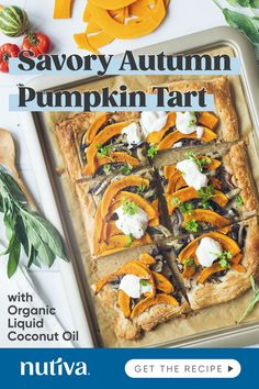 Check out this gorgeous Savory Autumn Pumpkin Tart recipe made with our liquid coconut oil.