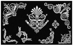 Plate 27 showing a tailpiece-like motif with palmette and six corner ornaments with foliage design. Printed white on black background. Scrapbook Blog, Cc Images, Baroque Art, Tag Design, Old Books, Architectural Elements, Decoration, Black Backgrounds, Color Blocking
