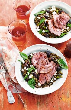 Thyme roast lamb with lentils, feta, olives and herbs recipe Herb Recipes, Barbecue Recipes, Olive Recipes, Summer Roast Recipes, Lamb Leg Steak Recipe, Paleo, Delicious Magazine, Roast Lamb, Greek Recipes