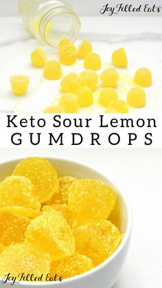 Sour Lemon Gumdrops - Low Carb, Keto, Sugar-Free, THM FP - If you haven't tried making your own homemade low carb gumdrops, you are missing out! This sour lemon gummy recipe comes together in just a few minutes! And they are very kid-friendly! #lowcarb #lowcarbrecipes #lowcarbdiet #keto #ketorecipes #ketodiet #thm #trimhealthymama #glutenfree #grainfree #glutenfreerecipes #recipes #desserts #dessertrecipes #ketodessert #lowcarbdessert #sugarfree #dairyfree #snack #candy #sour #gummies