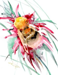 Bumblebee, Original watercolor painting by ORIGINALONLY on Etsy
