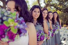 gray dresses with purple flowers