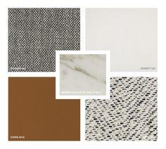 Marble: Calacatta Oro matt Hide Leather: Cuoio 5015 Fabrics: Topazio 993, Ernest 340, Etiopia 1126 Calacatta Oro, Moodboard Inspiration, Material Board, Mood Boards, Marble, Fabrics, Sofa, Texture, Colors