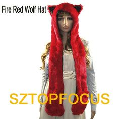 2aecd953edf Free Shipping New Fire red Wolf Full Hood Animal Hat Hoodies Faux Fur hat 3  in1
