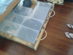 Storage for under bed with swivel wheels.