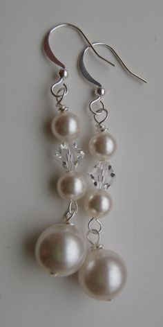 Bridal Earrings - Swarovski Pearl and Crystal