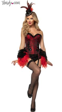 Deluxe Red Burlesque Showgirl Costume