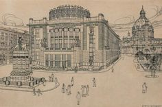 Otto Wagner's design for the redevelopment of the Charles Square and the establishment of Emperor Franz Joseph City Museum, now home of the Vienna Museum (1909). (Wikipedia)