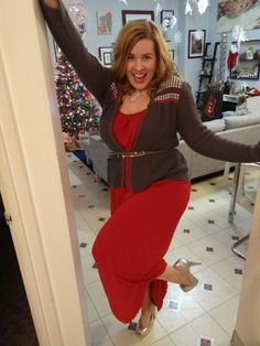 Waiting up for Santa- Revived red summer maxi from Old Navy, paired with a festive Christmas cardigan, cinched with a thin belt, while dancing in sky high silver pumps will make anybody's sleigh feel light as a feather. More pics when you click!