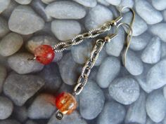 Crackle Glass Bead Earrings orange and red  by BazaarCharlotte, $4.99