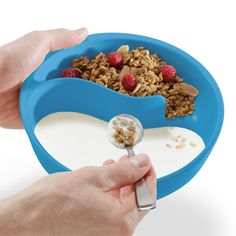 Hate soggy cereal? Problem solved! Obol® has two sections--an upper area for your cereal, and a lower reservoir for milk. Scoop a spoonful of your cereal into your spoon, then swoop into the milk for the perfect bite every time. Obol® is also great for milk and cookies, soup and crackers, even chips and salsa. Its uses are as unlimited as your imagination!