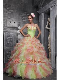 Lovely Multi-color Sweet 16 Dress Strapless Taffeta and Organza Hand Flowers Ball Gown  http://www.fashionos.com  Sweet, romantic dresses never go out of style and are perfect for any occasion. The most prominent feature of this dress is that it is adorned by two colors,which seems a dream. It is characterized by a strapless bodice with diffrent colors of layers on it.You've never seen a quinceanera dress as lovely as this one before!