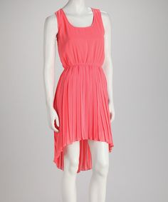 Take a look at this Coral Box-Pleat Hi-Low Sleeveless Dress by Cecico on #zulily today!