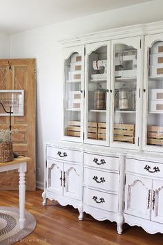 Office Storage Hutch Makeover - LOVE the door/sign in the corner! Hutch Makeover, Furniture Makeover, Diy Furniture, Furniture Refinishing, Office Furniture, White Painted Furniture, Office Storage, Room Organization, Dining Room Furniture