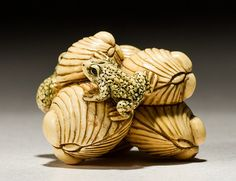 Signed Japanese Netsuke Ivory Tree Frog and Shells. In good condition. Measures 1 inch in height and 1.3 inches wide.