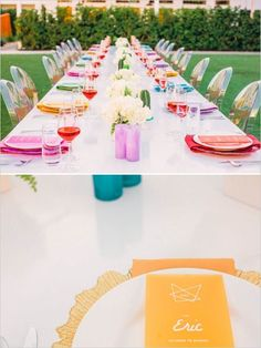 Love this colorful and geometric #wedding #decor