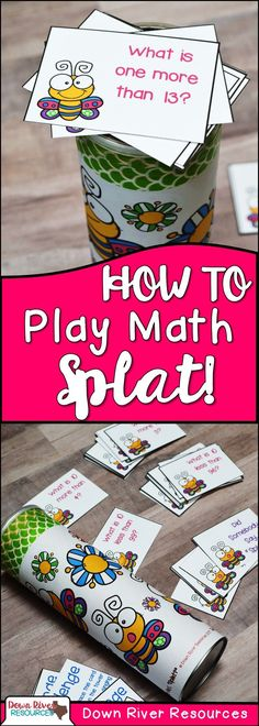 Mathematics just got more entertaining with these fun interactive SPLAT! math games. Add a potato chip can and some cards and students are engaged in kindergarten, first, and second grade math standards! | Down River Resources Blog