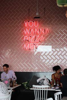 Interior in GB Pizza Co Margate Pizza Sign, Pizza Art, Fancy Pizza, Cute Pizza, Pizza Restaurant, Italian Restaurant Decor, Pizza Takeaway, Comida Pizza, Pizza Project