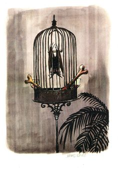 Marc Davis' concept art for a Haunted Mansion gag that was never used