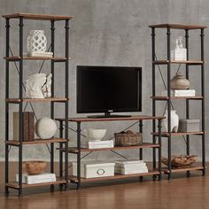 """Myra Vintage Industrial Modern Rustic 3-piece TV Stand Set by iNSPIRE Q Classic (Myra Modern Rustic TV Stand and Two 26"""" Bookcases), Black"""