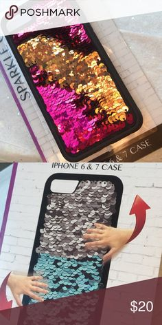 Unique Reversible Sequin iPhone 6/7 Case Super cute and unique iPhone case! Changes from pink to gold. New.       PRICE IS FIRM unless You bundle 3 items for 15% OFF or BOGO get one 50% up to as many items as you'd like  Accessories Phone Cases
